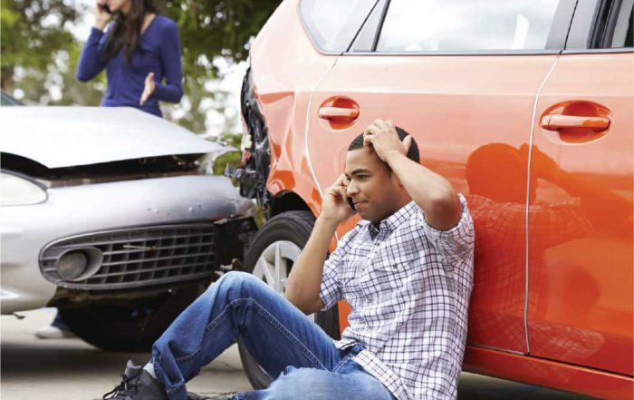 Car Accident Victim on the phone calling 911